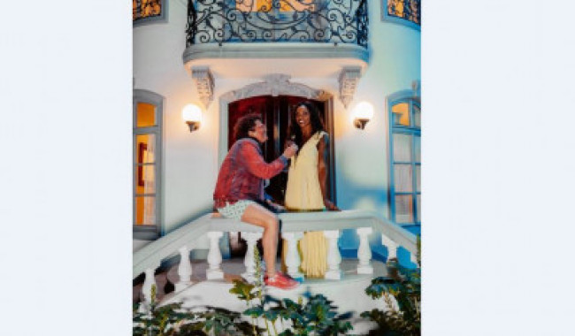 Carlos Vives y Caterine Ibargüen durante el rodaje del video.